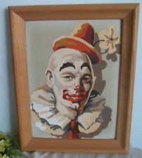Large Vtg 1960s smiling classic circus clown paint by number framed
