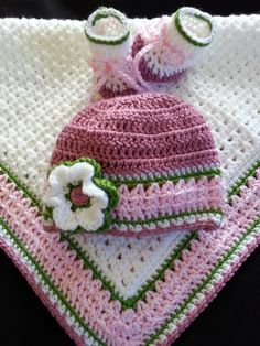 Baby Girl Gift Set Crochet Baby Blanket Beanie by TeenyBopperGifts, $40.00