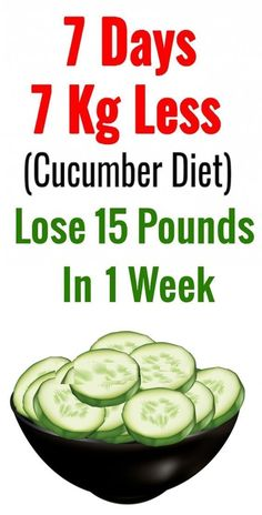 Cucumber Diet Help You Lose 15 Pounds. Cucumbers is a essential food to any healthy diet. Consuming cucumbers weekly are too great for cleaning your gastrointestinal tract, and they can stimulate your metabolism. Weight Loss Meals, Diet Food To Lose Weight, Losing Weight Tips, Fast Weight Loss, How To Lose Weight Fast, Weight Gain, Extreme Weight Loss, Weight Loss Diets, Fastest Way To Lose Weight In A Week