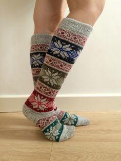 Long Knee length Wool Socks Fair isle, Christmas Star, Nordic, Scandinavian