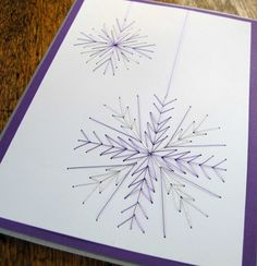 Purple Snowflakes Embroidered Card by SandrasCardShop on Etsy, $7.50
