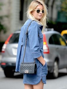 Camille rocking double denim in NYC. #CamilleOverTheRainbow