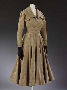 House of Fath | Wedding Suit | c. 1954    Lady Alexandra Howard-Johnston (1907-97) was the wife of the Naval Attaché to Paris at the end of the 1940s. She required an extensive wardrobe for the many formal dinners and state functions that she had to attend.  A couture client would attend all the fashion collections, seated in the front row if she were especially important like Lady Alexandra. After the show, she would place her orders with her vendeuse.