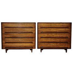 Pair of Milo Baughman Mahogany Five-Drawer Dressers