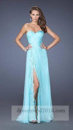 Aqua Long Slit Lace Prom Dresses 2014