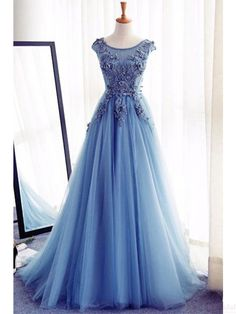 Round Neck Applique Long Tulle Prom Dresses Evening  Dresses  #SIMIBridal #promdresses