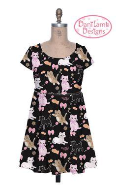 Kawaii Cat Dress Fairy Kei Dress Kitten Cat Cap Sleeve Dress Cat Pattern Size XS Through 3XL