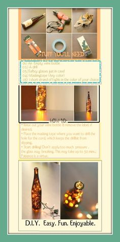 oncepure: DIY wine bottle decorating with string lights, accompanied by full/easy dorections. Click the picture for a better view of the directions/supplies/results. This is one of the simplest crafts ever. I managed to make one in under 20 minutes! Wine Craft, Wine Bottle Crafts, Bottle Art, Cute Crafts, Easy Crafts, Lighted Wine Bottles, Bottle Lights, Wine Glass, Glass Art
