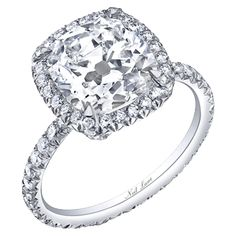 """classic cushion cut diamond ring set in platinum""(R04947)... This will be mine one day... even if I have to buy it for myself! lol"