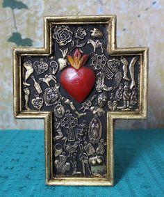 Sacred Heart Wood Cross Milagro / Miracle Medium Size Mexico Folk Art Michoacán