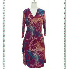 "Brand new wrap dress Paisley print S - L Brand new. 3/4 sleeve dress. Faux-wrap silhouette. Lightly gathered at waist.  Draped Side ruffled. Surplice neckline.  The length of the dress hits knee or below knee depends on your height. Jersey brushed knit. Versatile use it as an evening, party or a simple wear to work drees.  Perfect for all season because of its fabric.   Fabric:	Jersey Brushed Knit Content:	92% Polyester, 8% Spandex  Measurments TOTAL LENGTH=38-40"" SLEEVE =15-16""  Size: Small…"