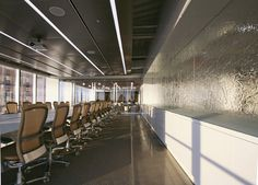 "Minot Capital- Boston, MA  Texture: MD204 Strata  1/2"" Clear Tempered Kiln-Fired Glass  Curved to Specified Radius"