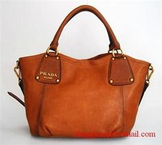 Prada Leather HandBag with with Light coffee-Oil wax milled