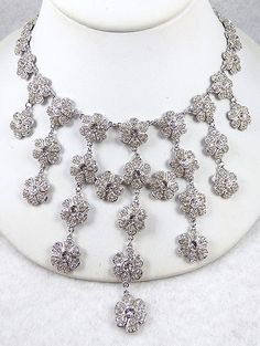 Kenneth Lane Rhinestone Flowers Bib Necklace - Garden Party Collection Vintage Jewelry