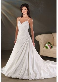 Wedding Dress - Beaded Spaghetti Straps with Rouched A line Skirt and Chapel Train Wedding Gown  loginwedding.com
