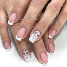 Wedding Nail Art Designs - White French Tip - Beautiful And Classy Nailart and Nail Ideas for The Bride and The Bridesmaid that you will Love. These posts contain Ideas For French Manicures, Silver, Blue, Red, Pale Pink, Simple, And Sparkle Nail Ideas. There Are Step By Step Tutorials And Make For Awesome Bling For Weddings, Prom, Graduation, or any Event On The Town - https://thegoddess.com/wedding-nail-art-design