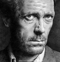 Hugh Laurie, drawn. Excellent illustration work. I am in awe.