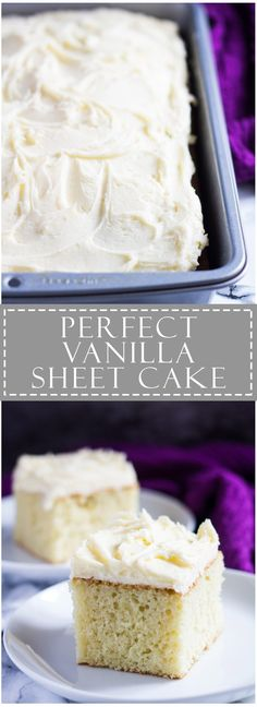 Perfect Vanilla Sheet Cake - Deliciously moist and fluffy vanilla cake recipe baked in a rectangle pan, and topped with scrumptiously creamy vanilla buttercream frosting! Just Desserts, Delicious Desserts, Dessert Recipes, Health Desserts, Moist And Fluffy Vanilla Cake Recipe, One Layer Vanilla Cake Recipe, Basic White Cake Recipe, Basic Cake, Vanilla Sheet Cakes