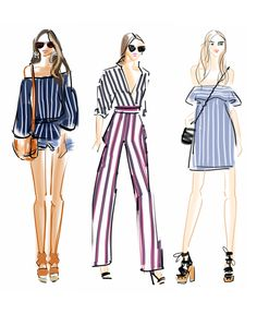 fashion sketches by Emily Brickel Edelson featuring the timelines striped pattern