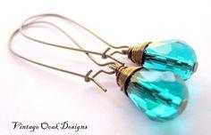 Peacock Teal Swarovski Crystal Earrings on by VintageOoakDesigns, $16.00