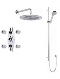 [V3OB Kit]: This beautiful three-handle thermostatic shower kit includes four body sprays, a  Multi-function Hand Shower and a 12 inch Round Shower Head. Chrome plated finish. Can use up to two outlets simultaneously. (List Price: $1,753.00) #Shower #Bathroom #ShowerKit #Remodel #BathroomRemodel #BathroomIdeas #Thermostatic #ValquestUSA Shower Kits, Shower Bathroom, Shower Valve, Hand Held Shower, Body Spray, Chrome Plating, Sprays, Shower Heads, Outlets