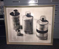Framed print of #ArtDeco enameled food tins. Designed by Lili Schulz c1925, Germany.