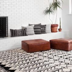 Boho Home Decor: Riad Leather Floor Pillow by The Citizenry | NONAGON.style