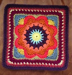"""Ravelry: chitweed's Emmalynn Square. Free 12"""" Crochet Square pattern by Carolyn Christmas with notes on this particular project. Easy pattern with great opportunity to play with color."""