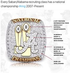 Every Saban Alabama Recruiting Class Has A National Championship Ring 2007 Present RollTide Bama BuiltByBama RTR CrimsonTide RammerJammer