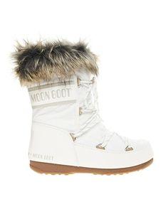 Botas de nieve de caña baja de piel sintética en blanco Monaco de Moon Boot