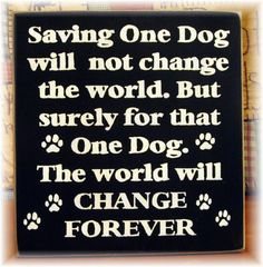 Saving one dog will not change the world by pattisprimitives, $22.00
