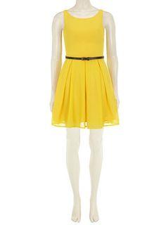 Yellow 50s flare belt dress