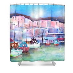 Greek Island Paros Naoussa Harbor Shower Curtain by Sabina Von Arx. This shower curtain is made from polyester fabric and includes 12 holes at the top of the curtain for simple hanging. The total dimensions of the shower curtain are wide x tall. Paros, Coastal Bathroom Decor, Curtains For Sale, Greek Islands, Are You Happy, Watercolor Paintings, Simple, Artist, Home
