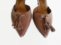 Nine West  8 B,M D'Orsay Leather Pointed Toe Pumps Grommet Tassle Shoes Brown #NineWest #PumpsClassics #Any