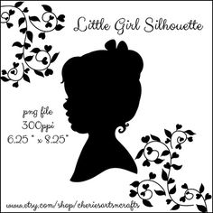 Silhouettes Little Girl With Hair Bow and by CheriesArtsnCrafts, $1.75