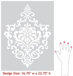 This elegant, versatile Ornamental Cartouche damask wall stencil pattern looks great stenciled as a repeating allover pattern on wall, as a random motif, and even as a single stencil focal point. Stencil Pattern Size: x Sheet Size: x Layer DesignSKU Damask Wall Stencils, Wall Stencil Patterns, Stencil Painting On Walls, Diy Wall Painting, Stencil Designs, Fabric Painting, Wall Stenciling, Lace Stencil, Flower Stencils