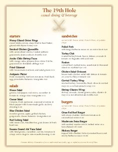 Customize Country Club Grill Menu