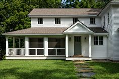 Farmhouse preservation in Massachusetts. Screened and open porches