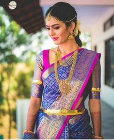23 Trending Pattu Saree Color Combinations of This Season Blouse violet color pattu saree - Violet Things South Indian Bridal Jewellery, Indian Bridal Sarees, Bridal Jewelry, Gold Jewellery, Temple Jewellery, Swarovski Jewelry, Dainty Jewelry, Leather Jewelry, Indian Jewelry