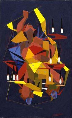 Victory Dance  Oscar Howe (1915 – 1983, Yanktonai Dakota)  Watercolor on paper  1954  1954.6    Philbrook Museum purchase.