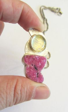 Cobalt Calcite Druzy Pink Druzy and Dichroic Glass by MayStudios, $195.00