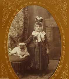 Amazing Wealthy Girl w Her Early Pug Dog Antique Cabinet Photo Fashion ID'D | eBay