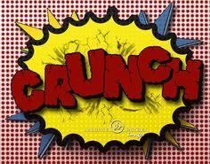 Boy Pop Art Prints-crunch pow bang- Sound effects in comic strip style of vintage Batman or super heroes 11x14 like Pottery Barn Kids theme -- inspiration