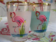 Vintage Miami Beach Florida souvenir juice glasses - set of 2 pink and aqua with hand painted flamingos...