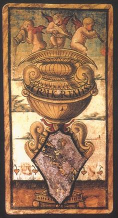 Sola-Busca Tarot (Italy 1491) - Ace of  Cups  .... faithful reprinted by Wolfgang Mayer (Germany 1998)