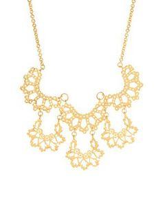 Orelia Matt Gold Scalloped Statement Collar Necklace at ASOS
