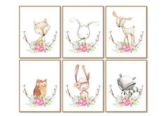 Set of 6 Woodland Animals Prints Nursery Decor Nursery Girl
