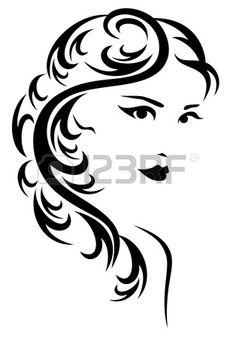 zarif saç modeli resimde - uzun saçlı güzel bir kadının siyah beyaz stilize portre photo