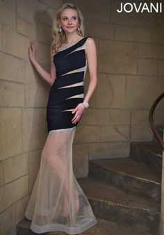 2014 Jovani Asymmetrical Strap Prom Dress 93137
