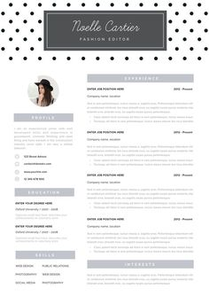 resume template instant download resume with photo creative resume cv template word and pages cv design